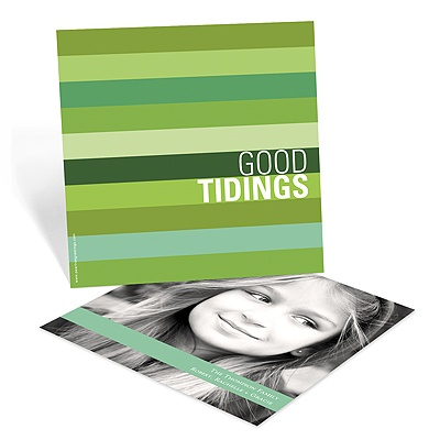 Shades of Stripes In Green -- Holiday Photo Cards