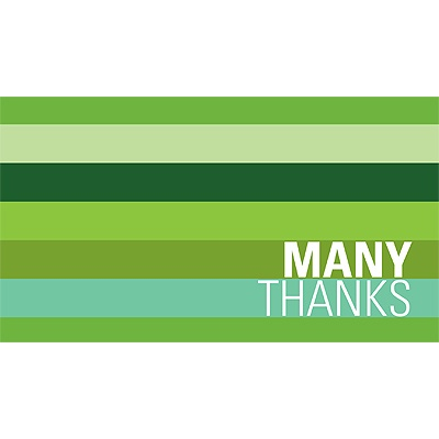 Shades of Stripes in Green -- Christmas Thank You Card