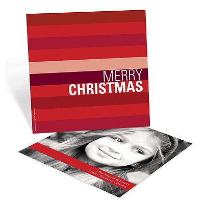 Shades of Stripes in Red -- Photo Christmas Card