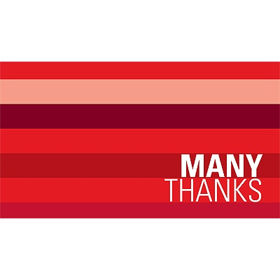 Shades of Stripes in Red -- Christmas Thank You Card