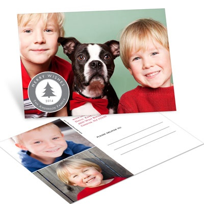 Emblem of Wishes With 3 Photos -- Holiday Photo Postcards