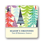 Multicolor Tree Prints -- Christmas Gift Stickers