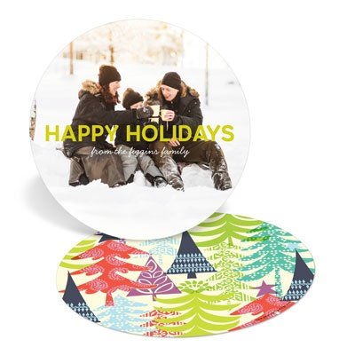Multicolor Tree Prints Holiday Photo Cards