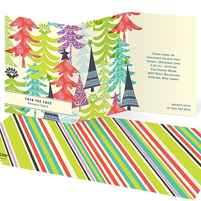 Patterned Christmas Trees -- Christmas Party Invites