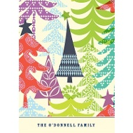 Multicolor Tree Prints Christmas Thank You Card