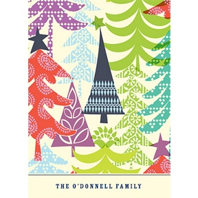 Multicolor Tree Prints -- Christmas Thank You Card