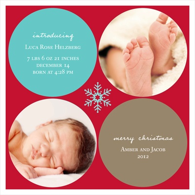 Simply Snowflake Baby Boy -- Christmas Photo Birth Announcements