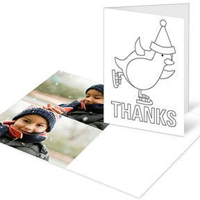 Penguin Portrait Coloring Card -- Christmas Thank You Cards