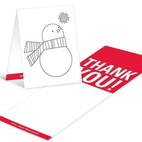 Snowman Portrait Coloring Card -- Christmas Thank You Cards