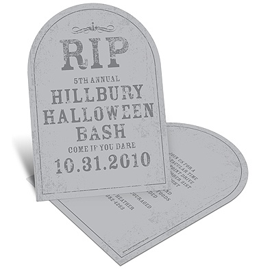 Spooky Tombstone Unique Halloween Party Invitation