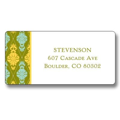 Damask Border Christmas Address Labels