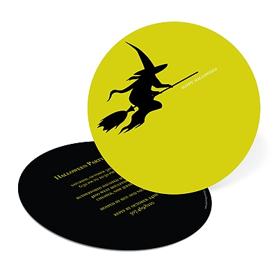 Flying Witch Silhouette Halloween Party Invitation