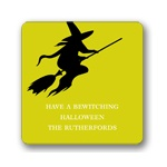 Flying Witch Silhouette - Personalized Stickers