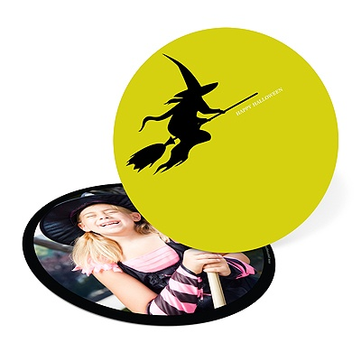 Flying Witch Silhouette Halloween Photo Card