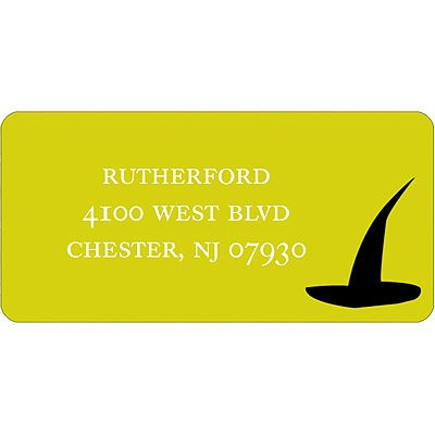 Witch Hat Silhouette - Halloween Address Label