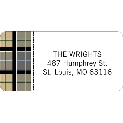 Checkered Border -- Christmas Address Label