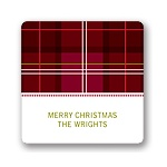 Festive Plaid Pattern -- Christmas Gift Stickers