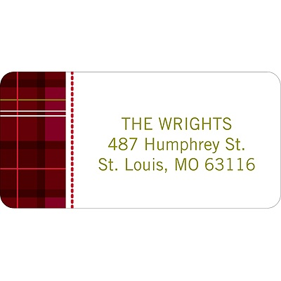 Festive Plaid Pattern -- Christmas Address Label