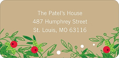 Christmas Holly Spray - Christmas Address Label