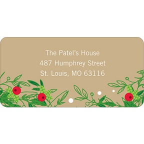 Christmas Holly Spray -- Christmas Address Labels