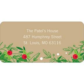 Christmas Holly Spray -- Christmas Address Labels