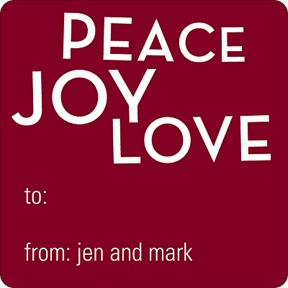 Peace, Love, Joy -- Personalized Stickers