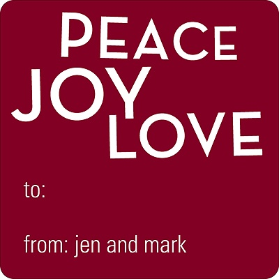 Peace, Love, Joy Personalized Stickers