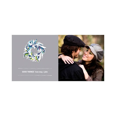 Photo Paper Feather Wreath Photo Christmas Cards