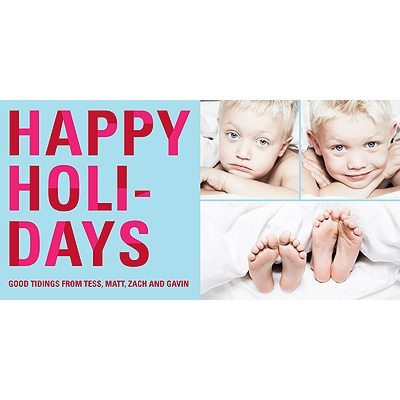 Bold Holiday Lettering in Blue -- Holiday Photo Cards