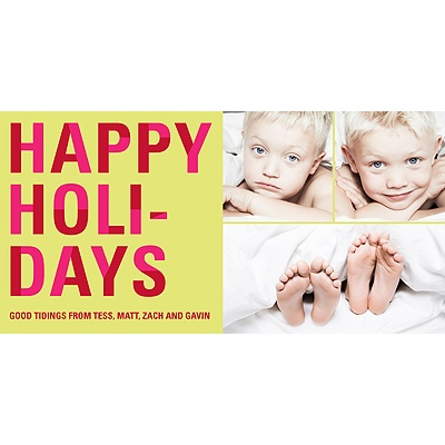 Bold Holiday Lettering In Green -- Holiday Photo Cards