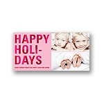 Bold Holiday Lettering in Pink -- Christmas Photo Cards
