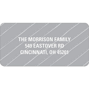 Angled Stripes in Gray -- Christmas Address Labels