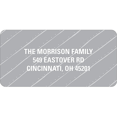 Angled Stripes in Gray Christmas Address Labels