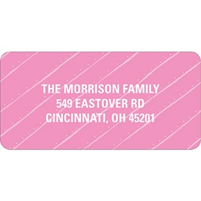 Angled Stripes in Pink -- Christmas Address Labels