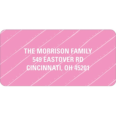 Angled Stripes in Pink Christmas Address Labels