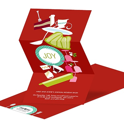 Icons of Joy In Red Holiday Party Invitations