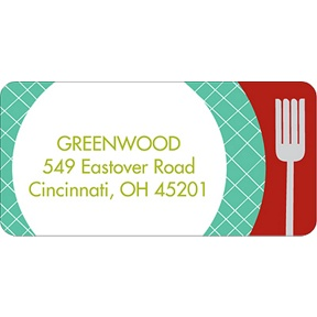 Time for Dinner Red -- Christmas Address Labels