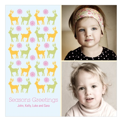 Gathering Deer In Blue -- Holiday Photo Cards