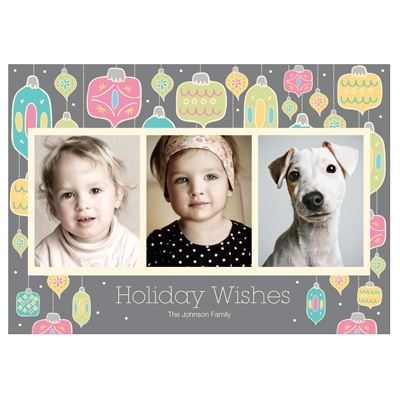 Dangling Ornaments In Grey -- Holiday Photo Cards