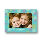 Frosted Snowflakes in Blue -- Photo Christmas Cards