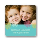 Frosted Snowflakes in Blue -- Christmas Gift Stickers