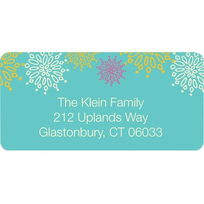 Frosted Snowflakes in Blue - Christmas Address Label