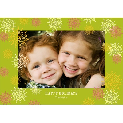 Frosted Snowflakes in Green - Photo Christmas Cards