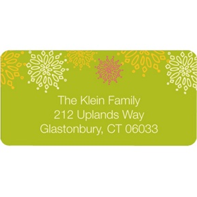 Frosted Snowflakes in Green -- Christmas Address Labels