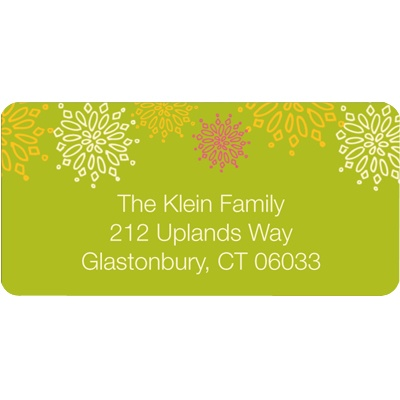 Frosted Snowflakes in Green Christmas Address Labels