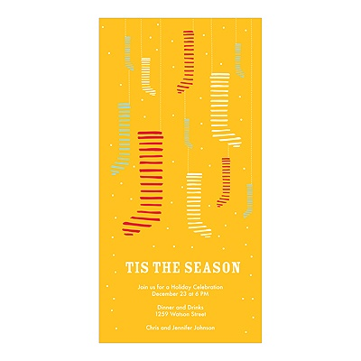 Hang the Stockings -- Yellow Christmas Party Invitation
