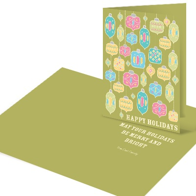 Colorful Ornaments in Green Christmas Cards