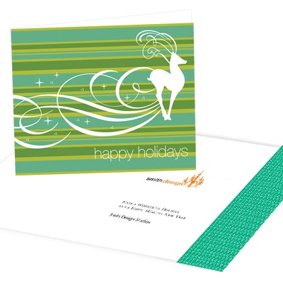 Elegant Reindeer Prance -- Business Holiday Card