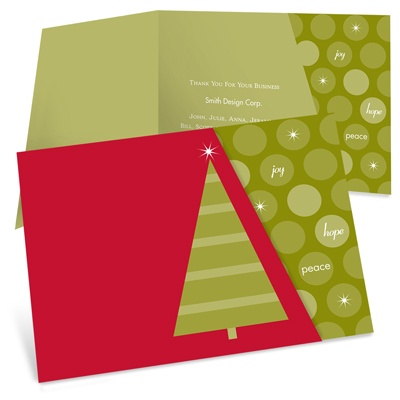 Striped Christmas Tree and Stars -- Corporate Christmas Card