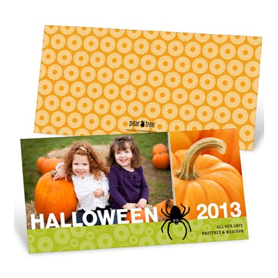 Dangling Spider Uniqiue Halloween Photo Card